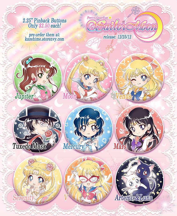 Sailor Moon 2.25 Buttons by Kaze-Hime