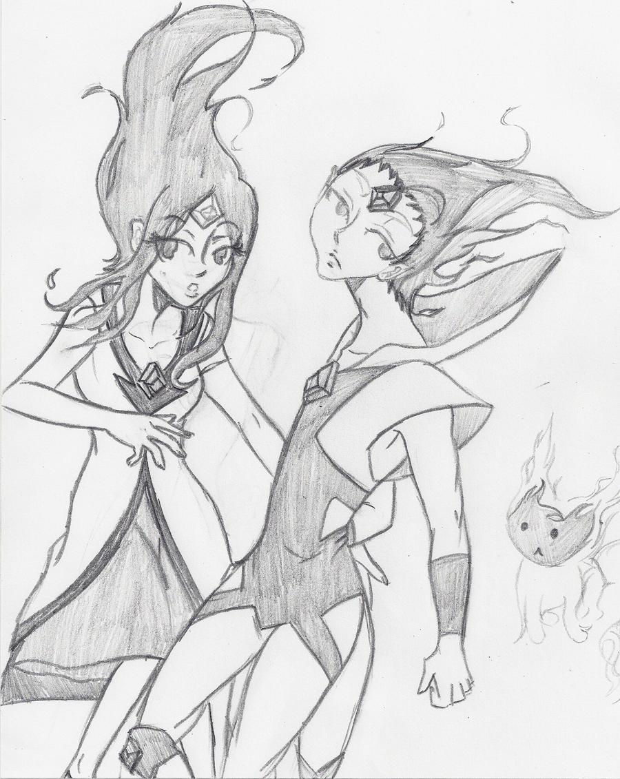 fire princess prince adventure time sketch by narutotomboy on
