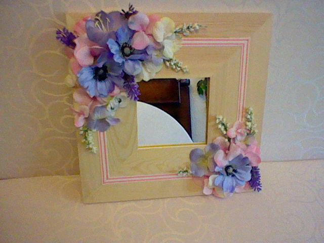 flower decorated mirror by helenflower - Decorated Mirror