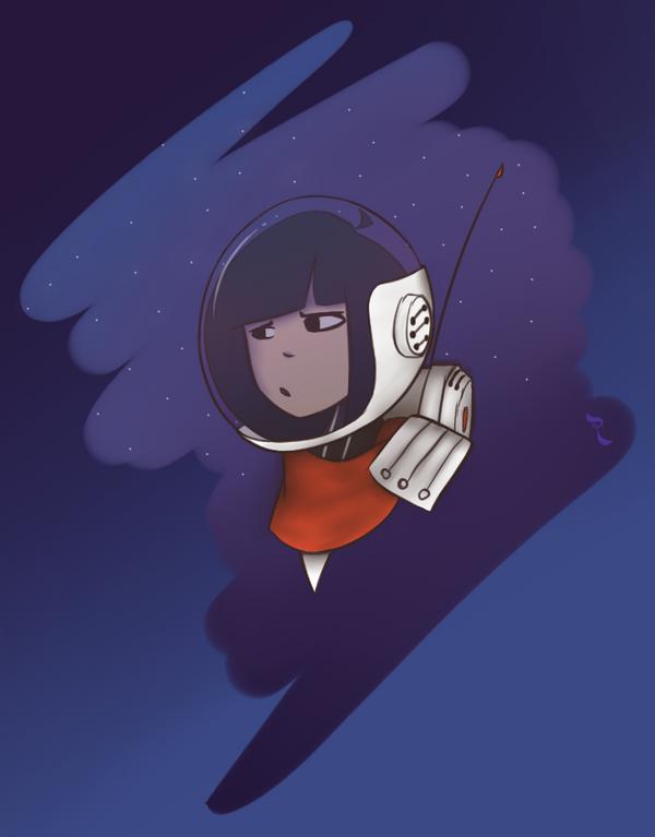 Random Sketch 17 - Luna Lee in space by RejectedSG