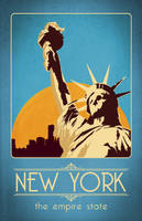 Retro New York Travel Poster by LiquidSoulDesign