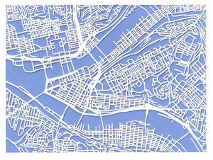 Pittsburgh cutout map