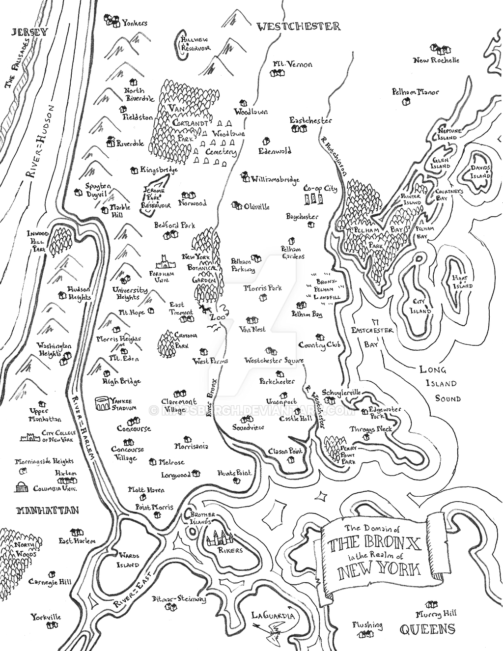 Bronx fantasy map by Mapsburgh