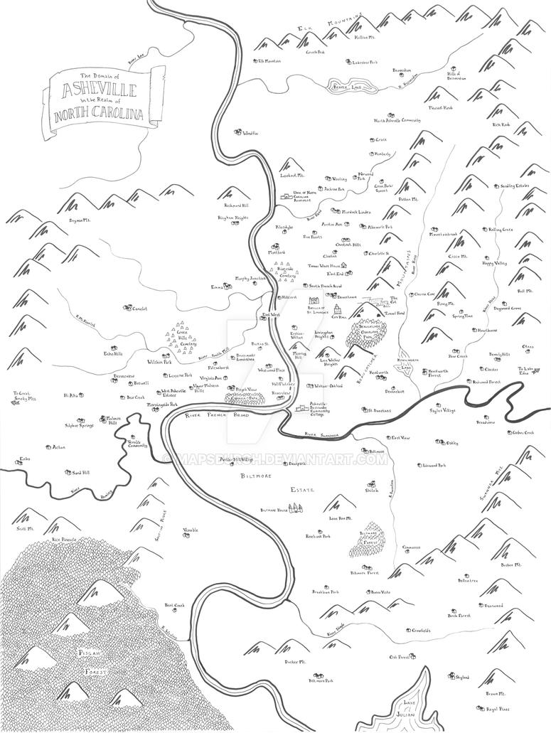Asheville fantasy map by Mapsburgh