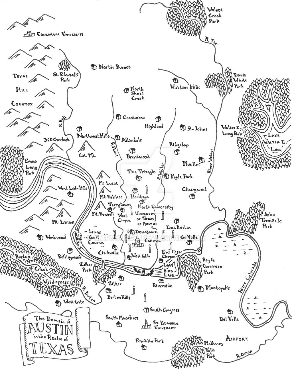 Austin fantasy map by Mapsburgh