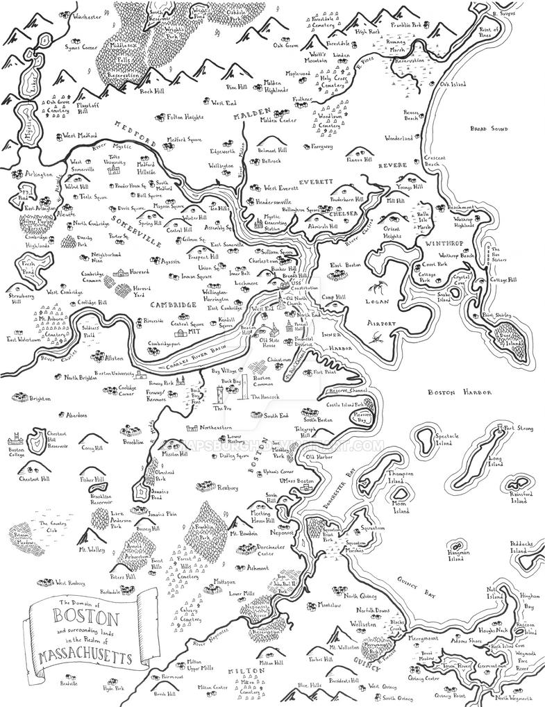 Boston fantasy map by Mapsburgh