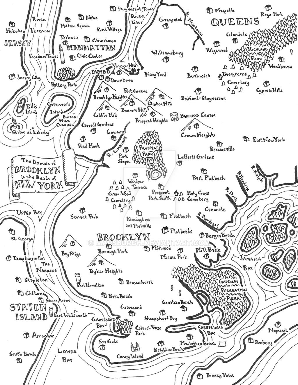 Brooklyn fantasy map by Mapsburgh