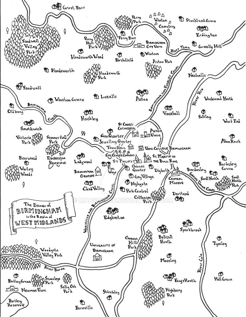 Birmingham fantasy map by Mapsburgh