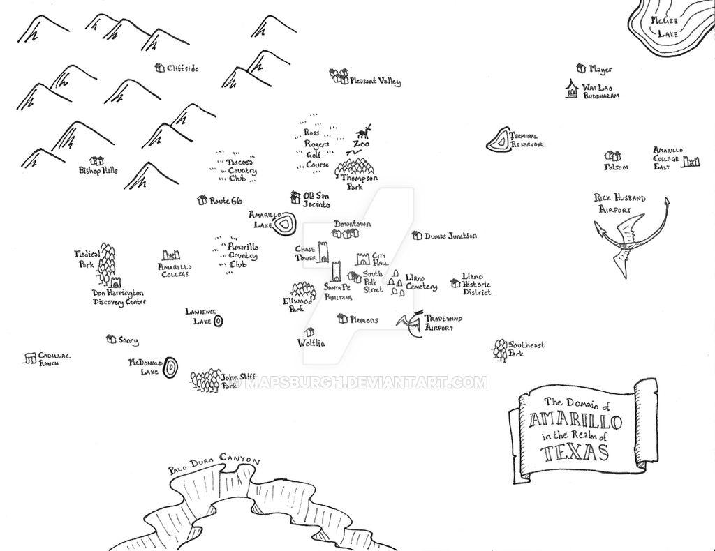 Fantasy map of Amarillo