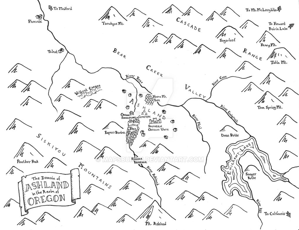 Fantasy map of Ashland, OR by Mapsburgh