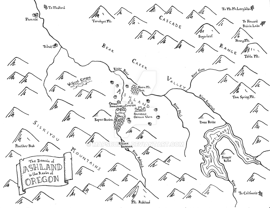 Fantasy map of Ashland, OR by Mapsburgh