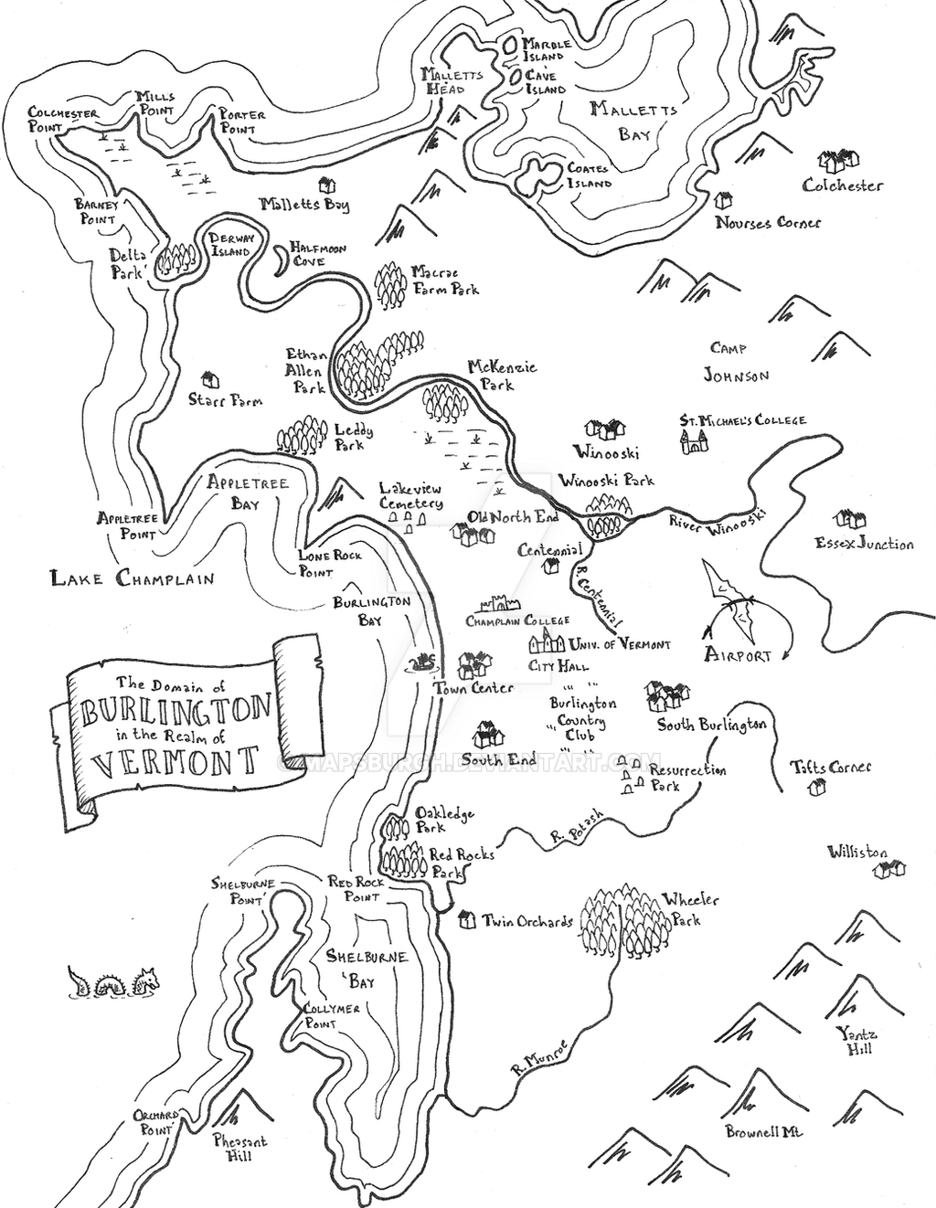 Fantasy map of Burlington, VT by Mapsburgh