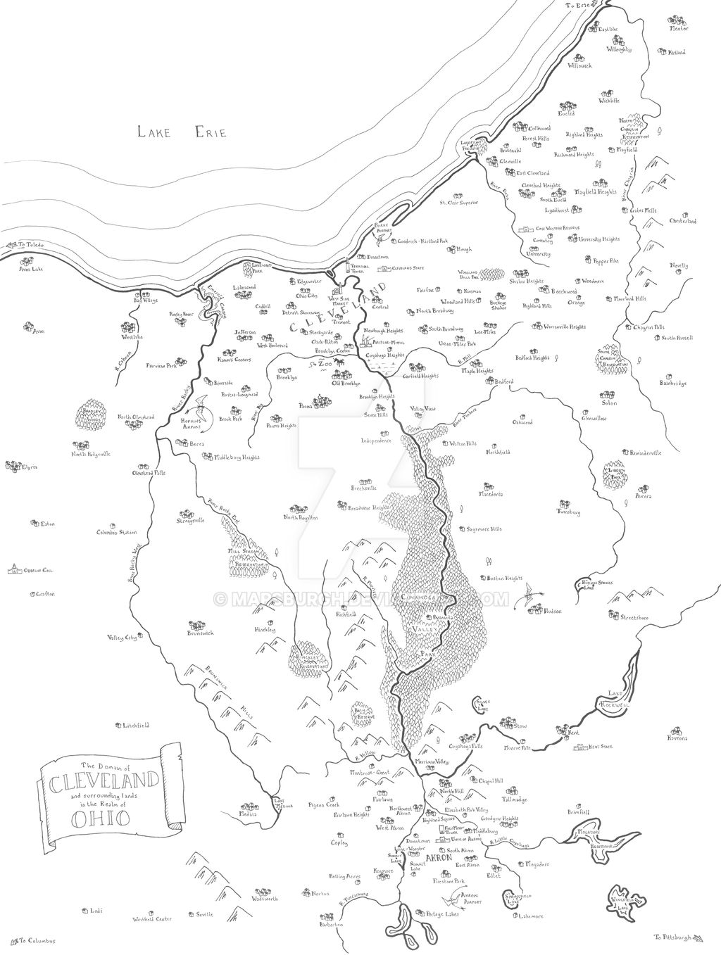 Fantasy map of Cuyahoga Valley (Cleveland-Akron)