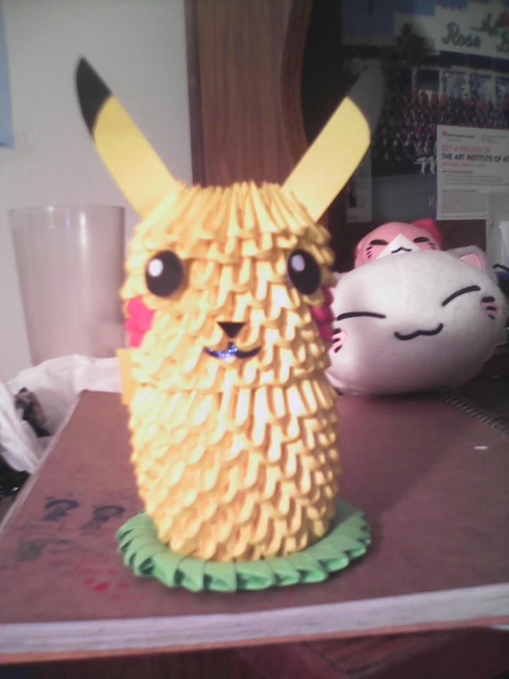 3d Origami Pikachu by Darki-ness