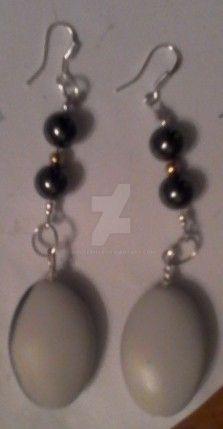 White Bead Earrings by lousephyr