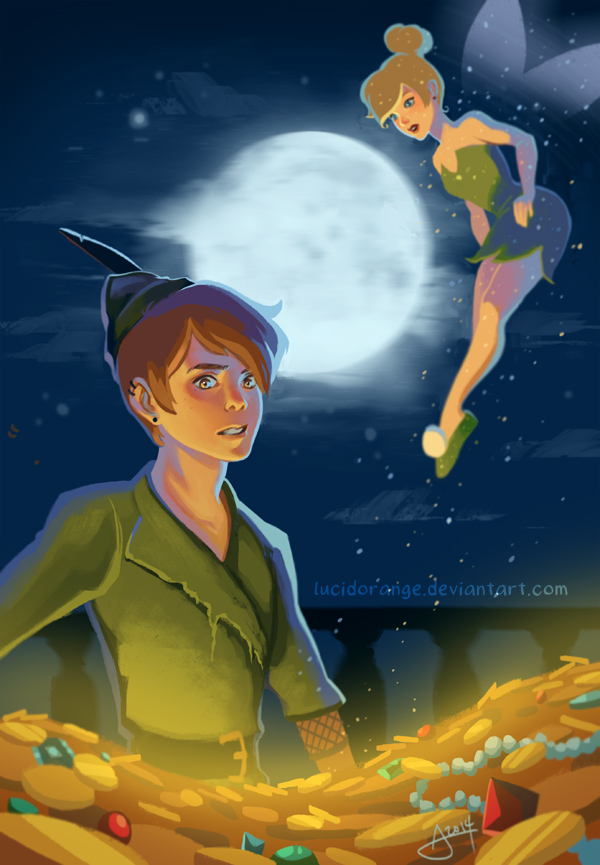 Tinkerbell and terence kiss