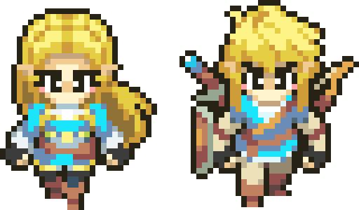 Breath of the Wild - Zelda and Link bead sprite