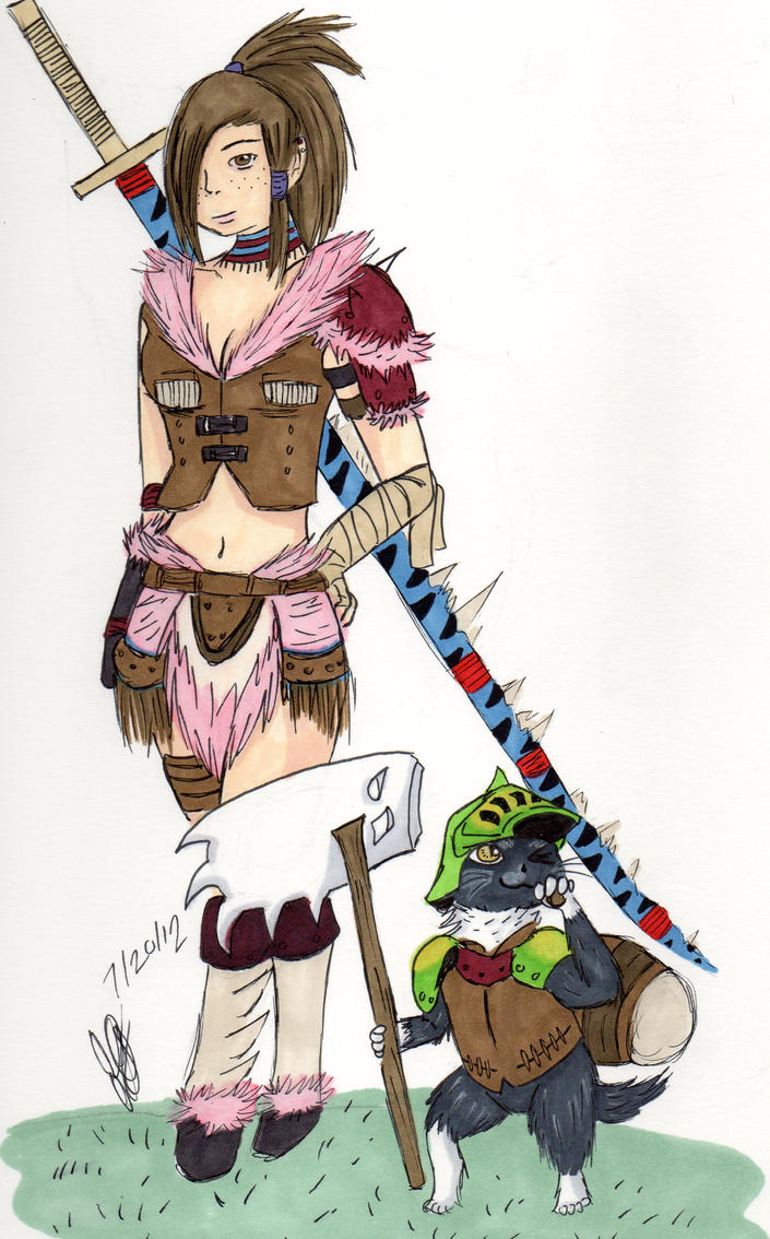 Anime Characters Monster Hunter World : Monster hunter character syra and feylne screech by