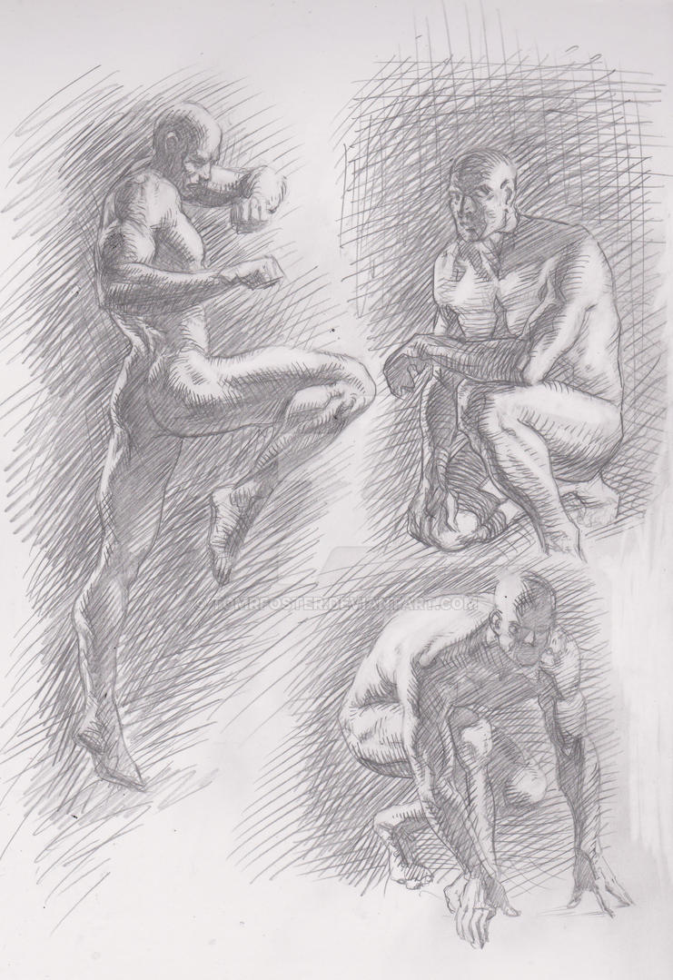 Anatomy Studies (full figure) A4 Pencil by TomRFoster