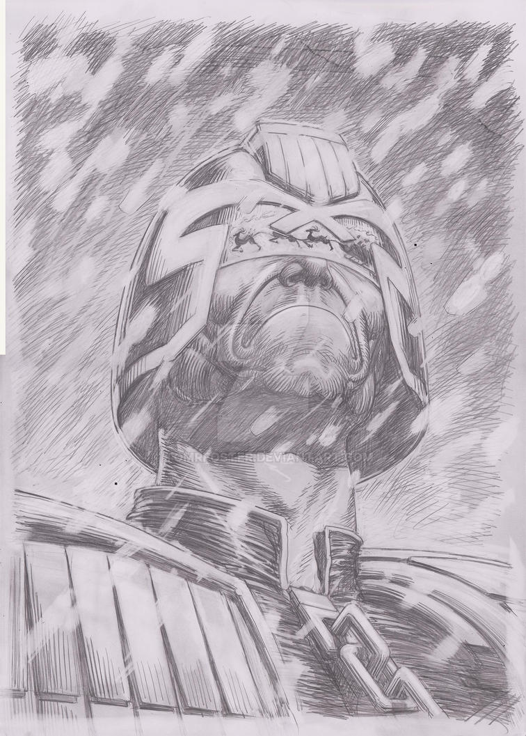 Dredd XMas Pinup Pencils by TomRFoster