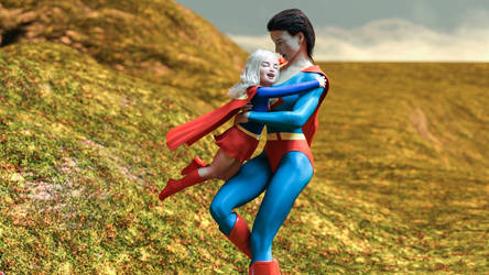 Baby Supergirl Meets Hugs Superwoman Clara Kent by kclcmdr