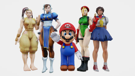 (MMD) Mario and the Street Fighter Girls