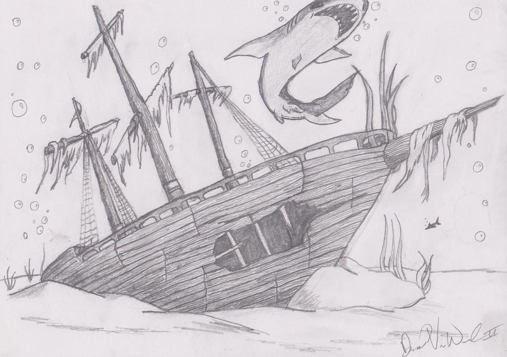sunken pirate ship drawing