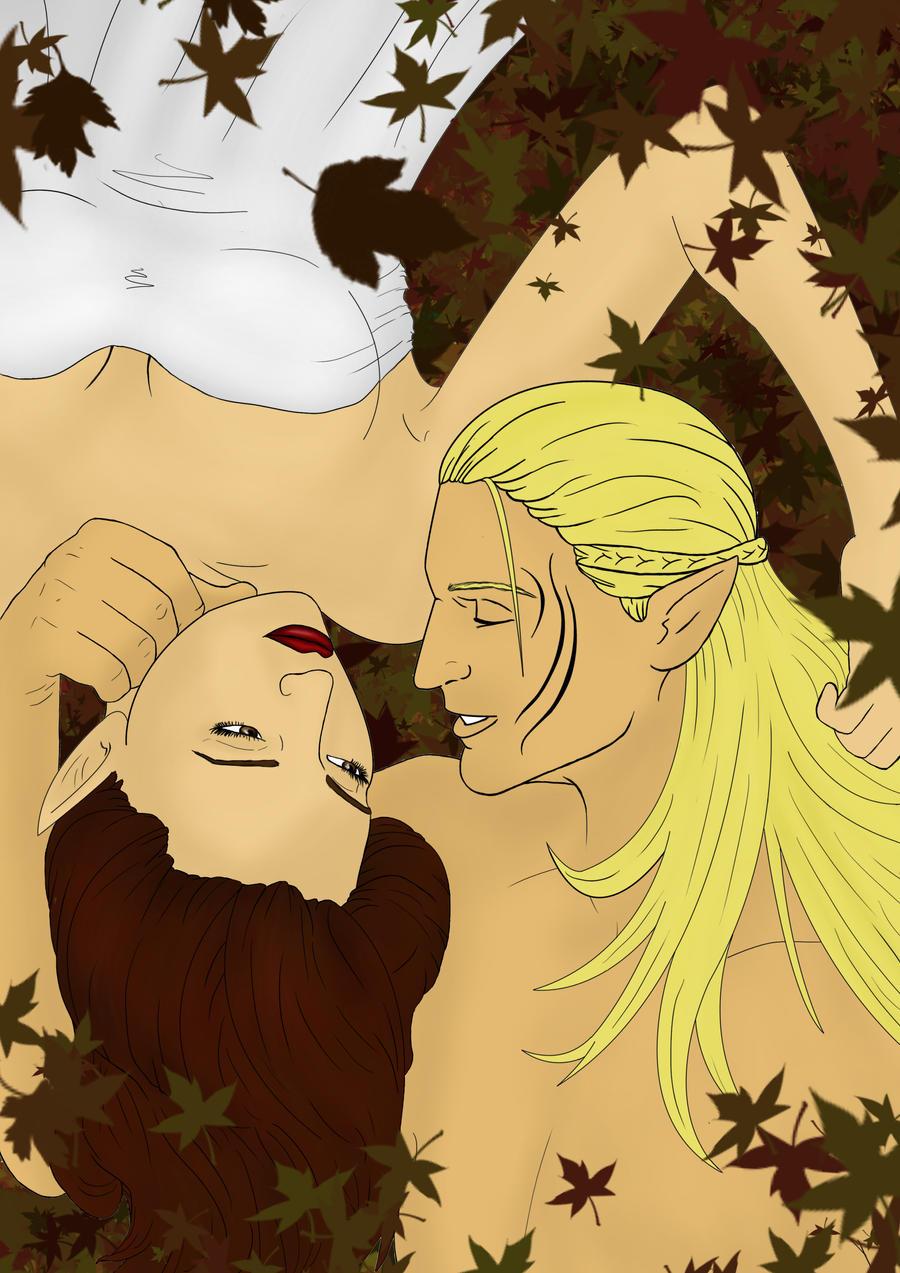 Yllwenn and Zevran Fall by Aztarieth