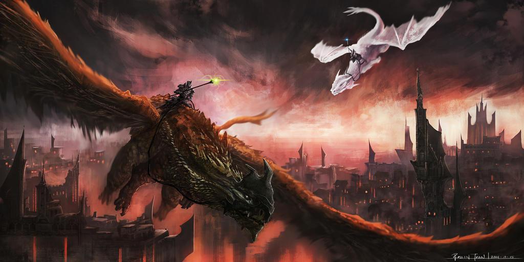 都市の上空を飛ぶ龍