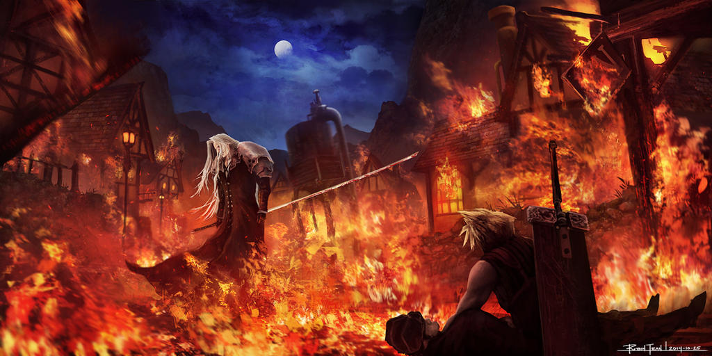 Final fantasy vii   sephiroth in flames by robintran d88sabo