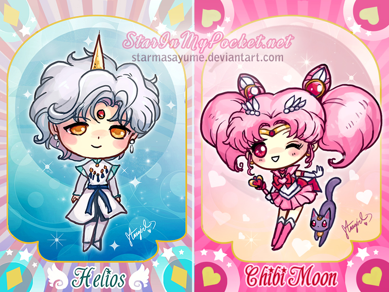 Sailor Chibi Moon and Helios by StarMasayume