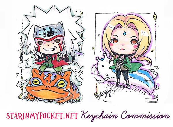 Jiraiya and Tsunade Chibi Commission by StarMasayume