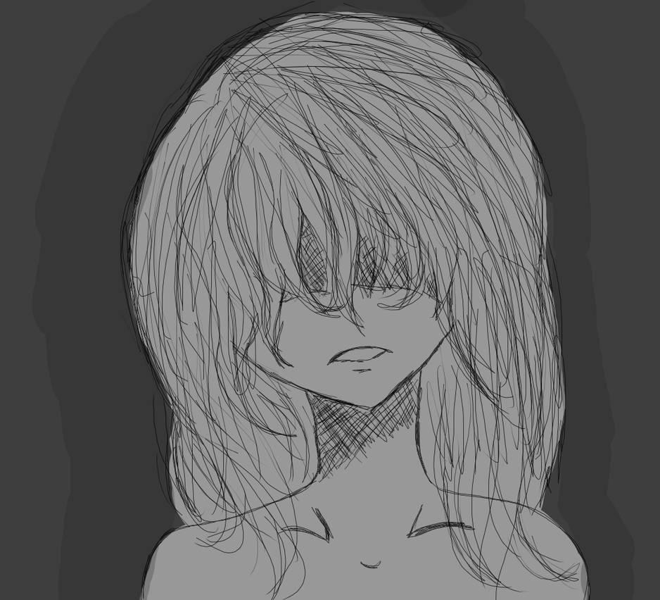 Depressed anime girl no