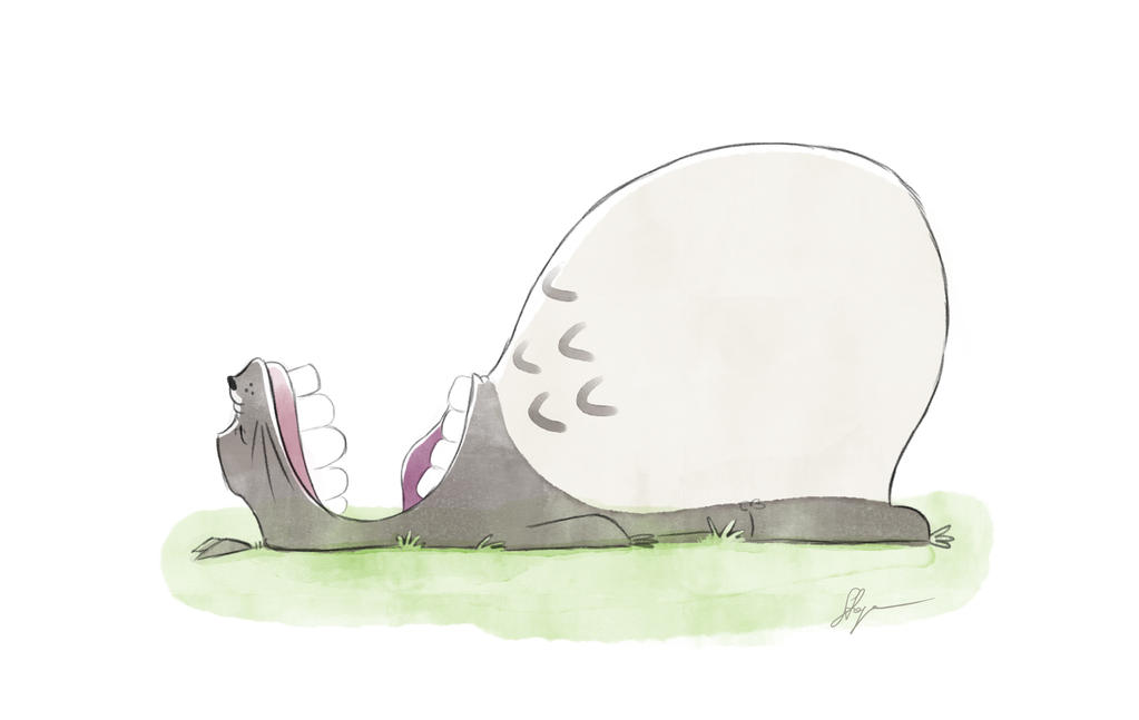 Yawning Totoro by PodwojneD