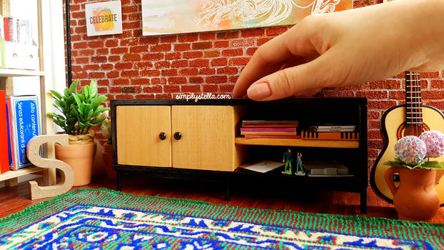 Miniature TV Stand for BARBIE DOLLS or dollhouses