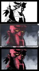 Hellboy ink on color