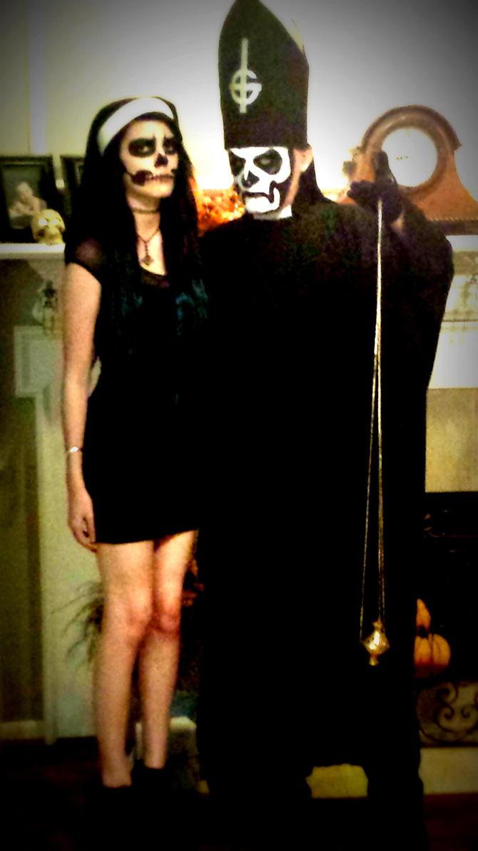 Papa Emeritus I and Ghoul Nun - Halloween 2014 by DrQArt