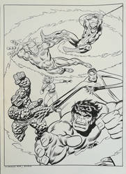 Recreation Marvel Heroes Poster after John Buscema