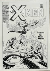 Recreation X-Men #49 cover after Jim Steranko