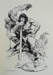 Recreation Conan Pin-Up after John Buscema