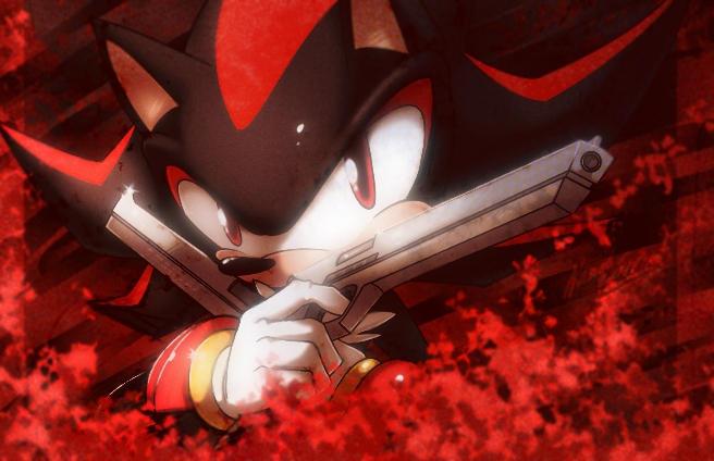 Download Fan Art Shadow The Hedgehog With Gun Background