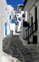 Street in Mykonos by abelamario