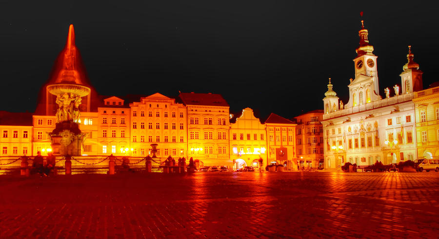 Main Square in Ceske Budejovice at Night02 by abelamario