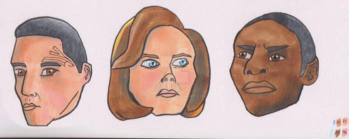 Chakotay, Janeway, Tuvok