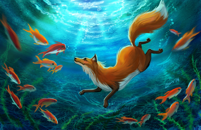 Diving Foxes by LouieLorry