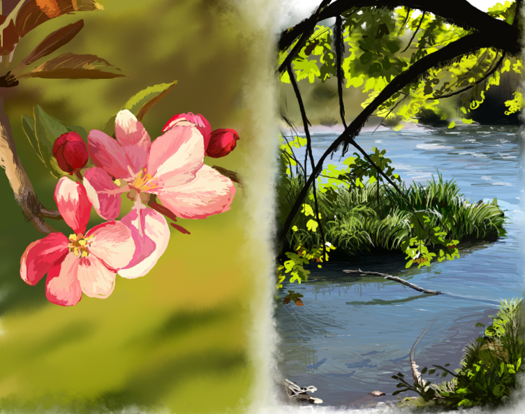 Speed Paint Flower and River by Joava