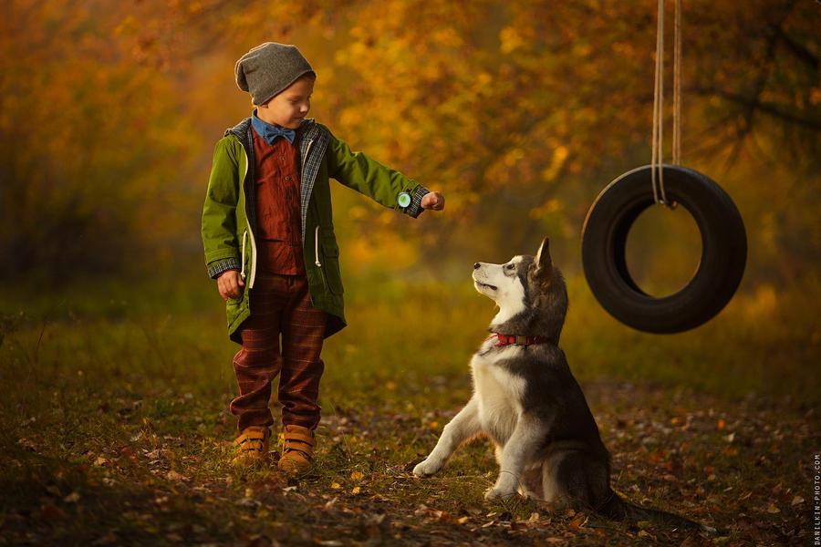 Boy with dog by danilkin54