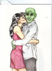 J'onn and Diana by moniquej