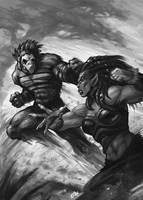 Vulture vs Lion by Eepox