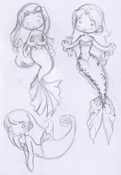 mer chibi doodles by KeyshaKitty